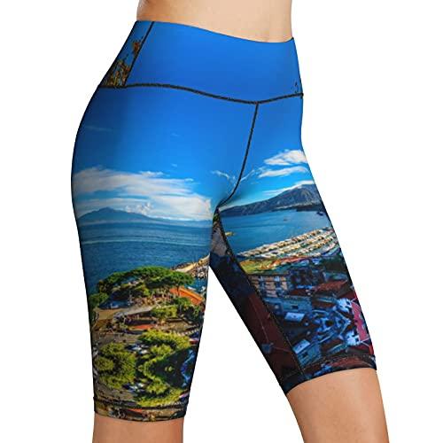 Hoge Taille Yoga Shorts Amalfi Zomer Coast Sea Cinque Terre Dames Biker Shorts Tummy Control Fitness Atletische Workout…