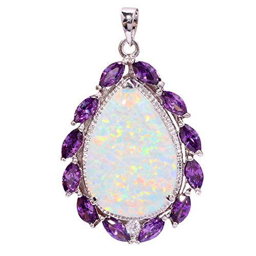 Luxury White Fire Opal Amethyst Silver Women Jewelry Gem Huge Pendant 2 OD5818