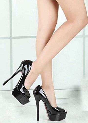CAMSSOO Women's Patent Platform Peep Toe Stiletto High Heel Pumps Court Dress Shoes Black cNuj0bF