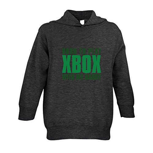 Price comparison product image Born To Play Xbox With My Daddy Toddler Pullover 100% Fleece Hoodie Dark Grey 3T