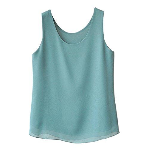 (Minuoyi Chiffon Round Neck Double-Layers Loose Cami Shirt Vest Tank Top(L, Cyan))