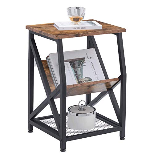 AMOAK Nightstand, Rustic End Table for Living Room, Bedroom, Side Table with 3-Tier Storage Shelf, Sturdy and Easy…