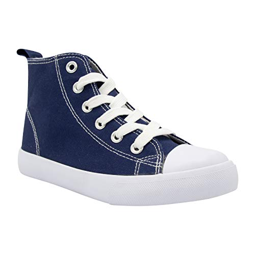 ZOOGS Fashion High-Top Canvas Sneakers Girls Boys Youth, Toddlers & Kids Navy