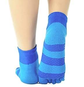 Womens [Blue Stripes] Yoga Socks Five Toes Socks Five Fingers Socks 1 Pairs
