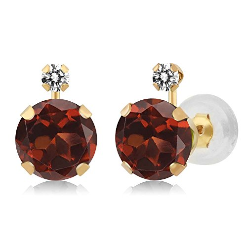 2.07 Ct Round Red Garnet White Diamond 14K Yellow Gold Earrings
