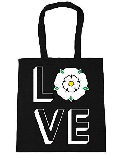 HippoWarehouse Love Yorkshire Einkaufstasche Fitnessstudio Strandtasche 42cm x38cm, 10 liter - Schwarz, One size