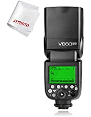 Godox V860II-N 2.4G TTL Flash 2000mAh Lithium Battery Speedlite for Nikon Camera GN60 HSS 1/8000s 1.5S Recycle Time 650 Full Power Pops with JYPHOTO Cloth