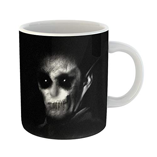 Emvency Coffee Tea Mug Gift 11 Ounces Funny Ceramic Haunted Horror Scary Monster Halloween Spooky Portrait Gifts For Family Friends Coworkers Boss Mug -