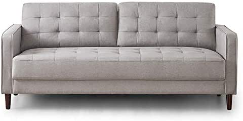 Zinus Mid-Century 3 Seater Sofa Couch in Stone, Size 194cm