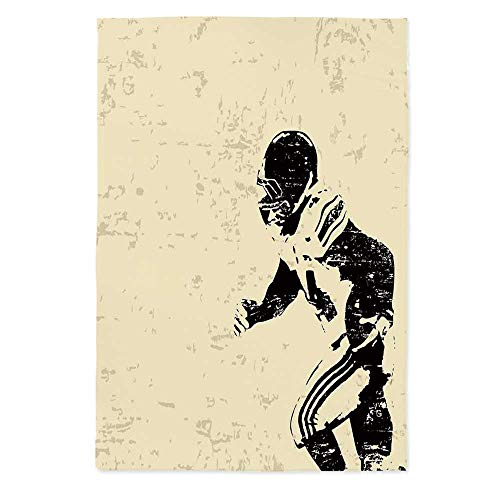 Sports Dust Proof Tablecloth,Rugby Player in Action Running Success in Arena Playground Sport Best Team Picture for Kitchen Dinning Tabletop Decoration,42.1''W X 60.2''L