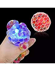 Justpe Luminous Stress Balls, Mesh Squishy Balls Colorful LED Squeezing Grape Balls, Water Beads and Glitter, Funny Soft Rubber Stress Balls Squeezing Vent Toy for Girls, Boys and Adults, 6CM