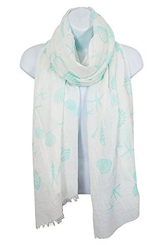 HEYDAY Lightweight Soft Shawl Wrap: Womens Pastel Seashell and Starfish Print Scarves (Mint) - Crochet Shell Afghan