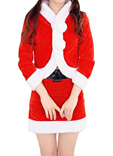 Womens Velvet Santa Christmas Costume Set Cosplay Skirt Red 1 (Santa Costume Rental)