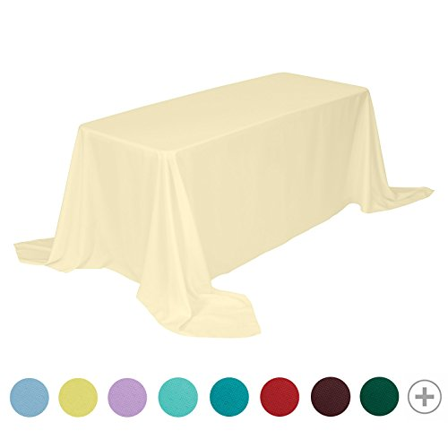 VEEYOO 90 x 156 inch Rectangular Solid Polyester Tablecloth for Wedding Restaurant Party Buffet Table, Light Yellow