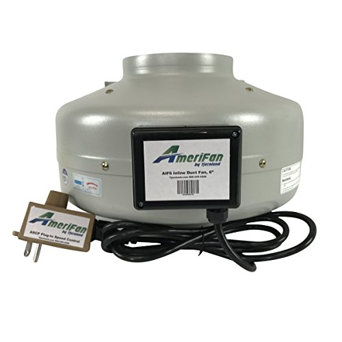 AmeriFan AIF6 Duct Booster Exhaust, for Growing, Hydroponics, Heating, Cooling, Venting, HVAC, Steel, 120V Supply Voltage