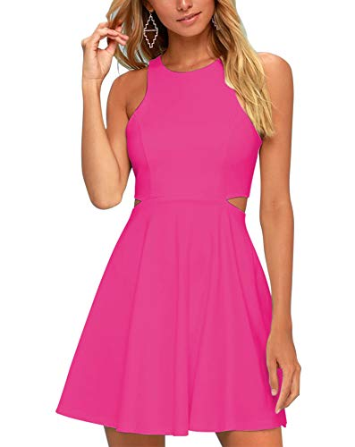 (BELONGSCI Women Sweet Sleeveless Spaghetti Strap Flared Swing Pleated A-Line Summer Skater Dress)