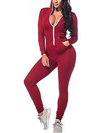 Women's Hoodie Long Sleeve Zip Up Pockets Bodycon Romper...