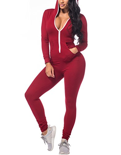 CoolooC Women's Hoodie Long Sleeve Zipper Pockets Bodycon Romper Jumpsuits (Small, Red) ()