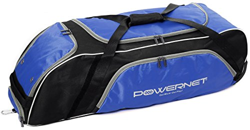 PowerNet Baseball Softball Wheeled Equipment Bag | BLUE | Perfect for Any Player but Has Extra Room for Catchers and Coaches | Fence Hook | Holds Four Bats -