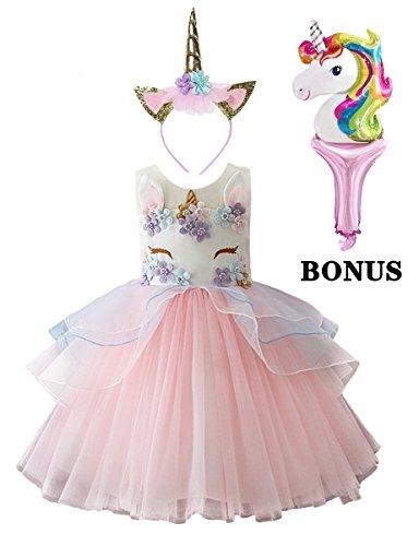 dressfan Unicorn Costume Princess Party Wedding Embroidered Tulle Baby Girls Dresses Cartoon Headband Ballon 3Pcs ()