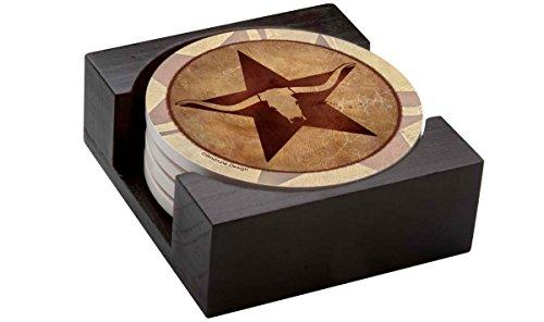 Thirstystone Stoneware Coaster Set, Gift Set, Texas Star Longhorn - (Texas Longhorns Coaster Set)