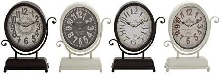 Deco 79 Metal Desk Clock 4 Assorted 9 W, 12 H-92206, 9 x12