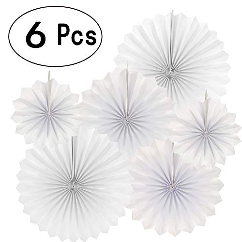 White Party Hanging Paper Fans Bridal Shower Wedding