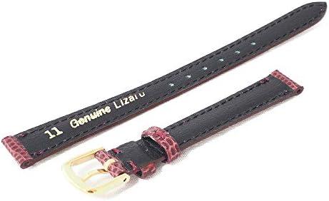 日本製 国内生産 職人によるハンドメイド腕時計ベルト 10mm 高級リザード(トカゲ革) バーガンディ 時計バンド ゴールド尾錠 Made in Japan LZT3-10G