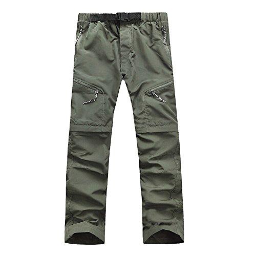 Lanbaosi Men's Outdoor Quick Dry Hiking Pants Convertible Cargo Shorts Medium Navy Green