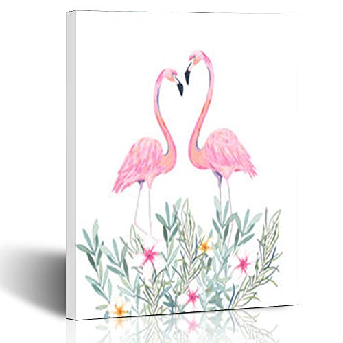 Canvas Prints Wall Art Stretched Framed Beautiful Pink Flamingos Bouquet Tropical Flowers Cute Textures Flamingo Holidays Birthday 8 x 10 Inches Modern Painting Home Decor Wrapped Gallery Artwork