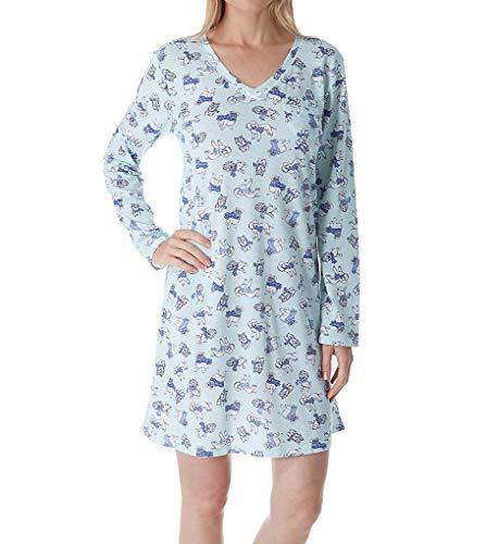 (Carole Hochman Holiday Essential Long Sleeve Sleepshirt (ZCH3701) L/Winter Puppy)