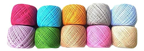 (6 PLY Strand - Fluorescent - LOT Set of 10-100% Cotton Yarn Thread - Crochet Lace Knitting Embroidery Cross Stitch (10 Balls - 100 Grams))