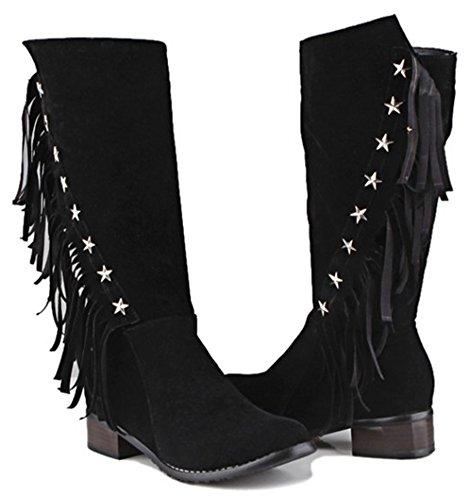 IDIFU Womens Elegant Stars Tassels Fringed Low Chunky Heels Side Zip Up Mid Calf Boots Black LPOnH2
