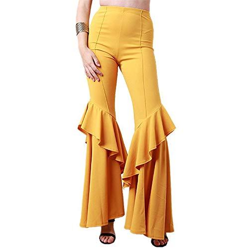 GUOLEZEEV Women Casual High Waist Leggings Ruffle Hem Stretchy Elegant Long Pant S
