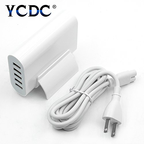 YCDC 40W Fast Charger, 5 Ports USB Charging Station, 5V/8A Output, Multi USB Chrger, Home Office School Use, with Stand, Long Cable 1.4m/4.7ft, for iPhone/iPad/Samsung Galaxy/Huawei/Xiaomi/One Plus