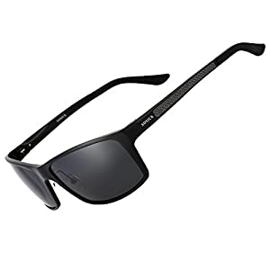 SOXICK Adjustable Metal Frame Polarized Driving Sunglasses for Men Womens Driver Glasses Black Lens