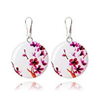 Japanese Sakura Red Earrings Presents for Her, White Pink Dangle Accessories for Sweet 16, Design diameter 1.2inch -3cm