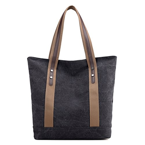 Women Top Handle Satchel Handbags Canvas Shoulder Bag Tote Purse (Black)