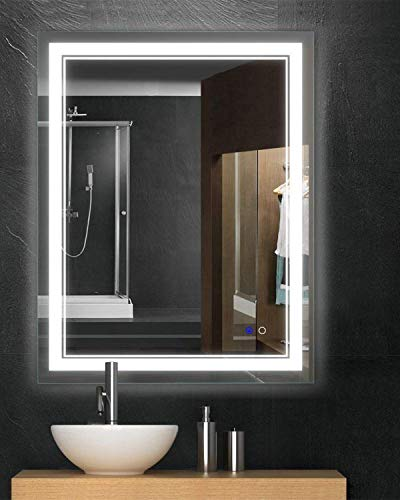 "Keonjinn 36""x 28"" Bathroom Mirror Horizontal/Vertical Anti-Fog Wall Mounted Makeup Mirror with LED Light Over Vanity - [DIMMABLE LED MIRROR]:  This LED mirror light is dimmable, controlled with a round touch button. Simply touch the round button for 3 seconds to change light intensity from normal to brightest. [UNIQUE DESIGN]: The mirror power switch and anti-fog switch are separate control, anti-fog according to need to open and close, safe and energy-saving.This built in anti-fogging function means no need to constantly treat your mirrors with fog free spray, or rinse them multiple times per shower. [HIGH QUALITY & LONG ENDURANCE]: LED lifetime: 50,000 hours (Using the mirror 3 hours a day means it will last 45 YEARS), copper free Environmentally friendly materials are used with silvered reflection layer. - bathroom-mirrors, bathroom-accessories, bathroom - 412NRZ42T9L -"