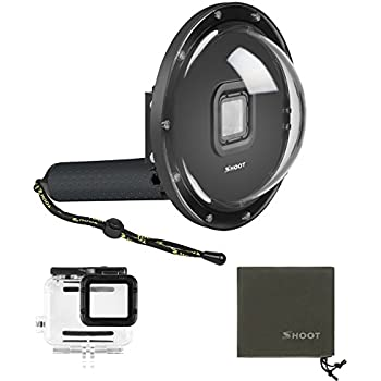 SHOOT Dome Port Must Have Accessories for GoPro Hero 7 Black/Hero 6/Hero 5/Hero(2018) Black Camera Underwater Diving Transparent Lens Housing Dome with Gray ...