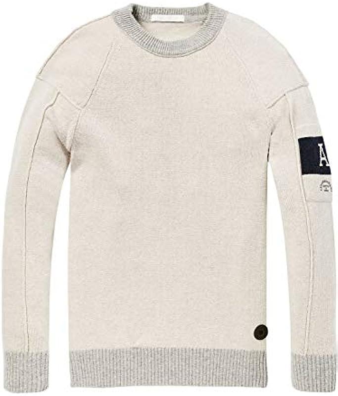 Scotch & Soda sweter męski z okrągłym wycięciem pod szyją - x-large: Odzież