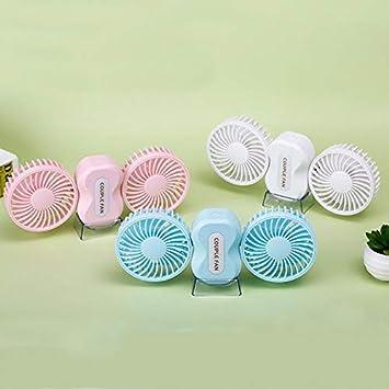 Color : Blue Rechargeable Air Conditioning 2 Motors Ventilador Fan USB Fan Electric Fan with 5 Blades Air Cooling Fan Portable Couples Fan