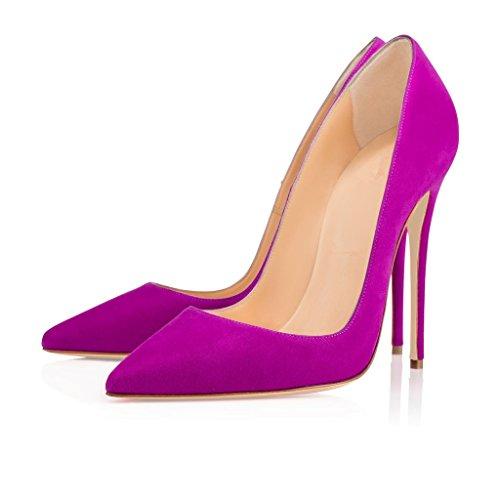 Shoes On Suede Court Pointed Slip Heels Pumps High Stiletto Elegante 12cm ELASHE Toe Purple Women 7qA74