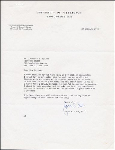 amazoncom dr jonas salk typed letter signed 01271959 entertainment collectibles