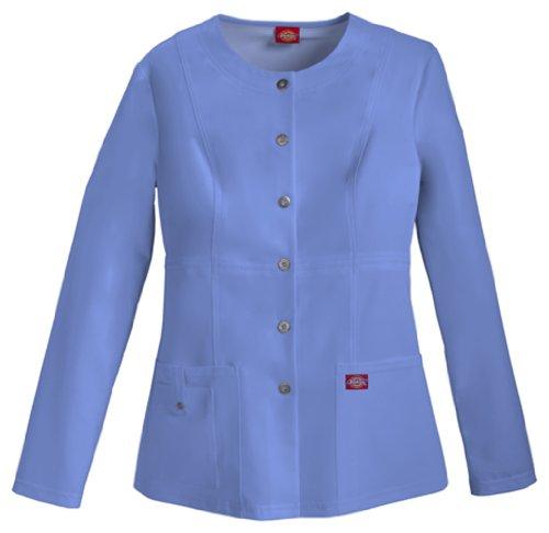 Missy Scrub - Dickies Women's Xtreme Stretch Crew Neck Snap Front Warm-Up Jacket, Ceil Blue, X-Large