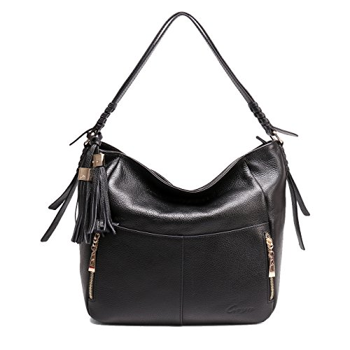 Geya Women's Fashion Genuine Leather Handbag Shoulder Handbag with Imported Soft Hot Leather (Black) by Geya (Image #1)