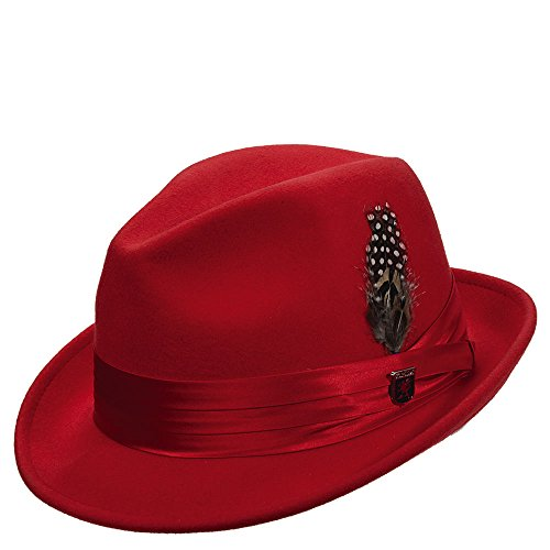 Stacy Adams Men's Crushable Wool Felt Snap Brim Fedora (Red, (Beautiful Red Felt Hat)