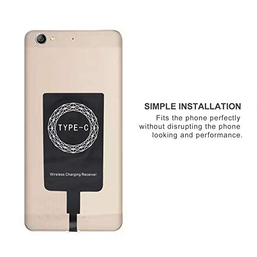 Portable Universal Type C Port Qi Wireless Charger Receiver Lightweight Charging Adapter Pad Coil Black