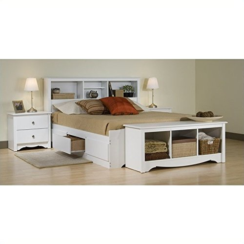 (Prepac Monterey White Queen Wood Platform Storage Bed 4 Piece Bedroom Set)