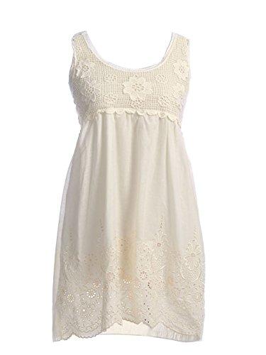 Anna-Kaci S/M Fit Cream Floral Crochet Bodice Eyelet Lace Scallop Hem Dress